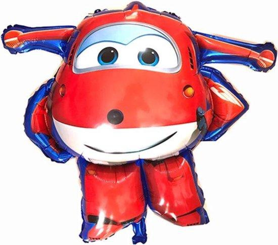 Super Wings Jett ballon - XL - Rood - 81x83cm - Vliegtuigen - Verjaardag - Versiering kinderfeestje - Super Wings - Folie ballon - Feest - Leeg - Dizzy - Jett - Paul - Donnie