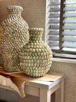SHELL vaas - Bamboe & Schelpen - Beige & Groen