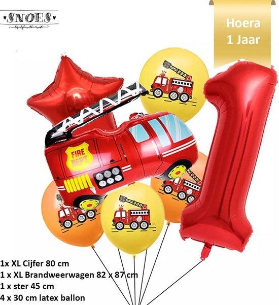 Verjaardag Jongen Brandweerwagen Ballonnen Set * Cijfer 1 * Nummer 1 * Hoera 1 jaar * Snoes * Verjaardag * Kinderfeest * Versiering brandweer rood brandweerwagen * Verjaardag jongen * Thema Brandweer Firefighter Firetruck * Snoes * Eerste Verjaardag