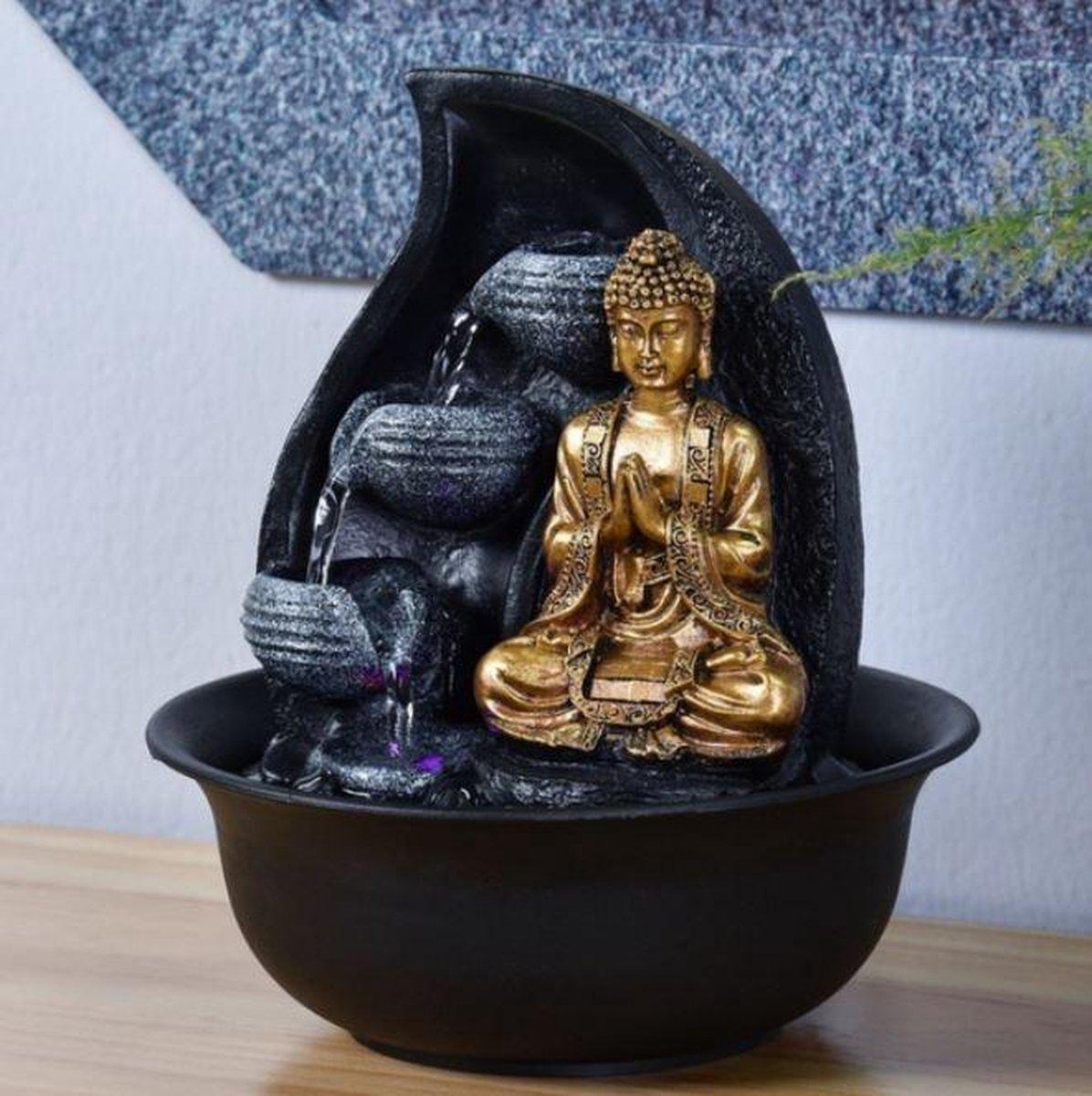 Fontein Boeddha Praya 22 cm hoog - fontein - interieur - fontein voor binnen - relaxeer - zen - waterornament - cadeau - geschenk - verjaardag - kerst - nieuwjaar - origineel - lente - zomer - lentecollectie - zomercollectie - afkoeling - koelte