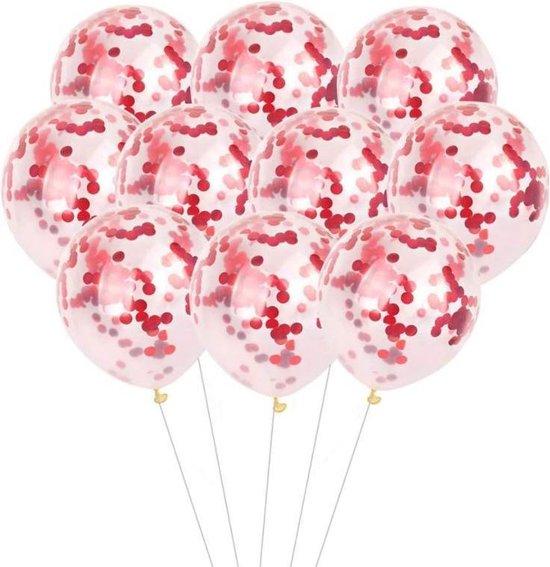 20 Confetti Ballonnen - Rood - papieren Confetti - 40 cm - Latex - Huwelijk - Verjaardag - Feest/Party -