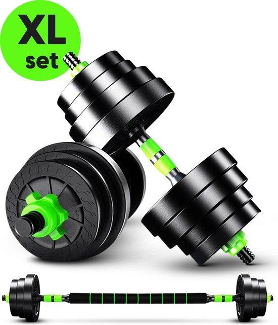 EchoGoods - Halterset 30 KG - 2x15 KG - Dumbell Set - Krachtoefeningen - Barbell Halterstang met Gewichten – Verstelbare Dumbells met Gewichtschijven - Fitness Stang
