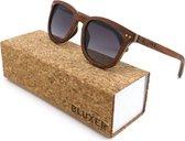 Bluxer® Zonnebril voor Heren en Dames Polaroid - Hippe Houten Zonnebril Gepolariseerd - UV400 Lens - Koa Wood - Grijze lens