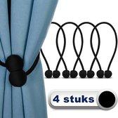 AWEMOZ Luxe Gordijn Embrasse - 4 stuks - Gordijnhouders - Embrasses voor Gordijnen - Gordijn Embrasse Haak - Magnetisch Gordijnkoord - 45 cm Lang - Zwart