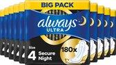 Always Ultra Secure Night - 180 Stuks - Maandverband Met Vleugels