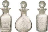 Whiskey karaffen set van 3 stuks | 5 x 9 x 15 cm | Stijlvolle glazen karaf set voor het serveren van diverse dranken | Transparant