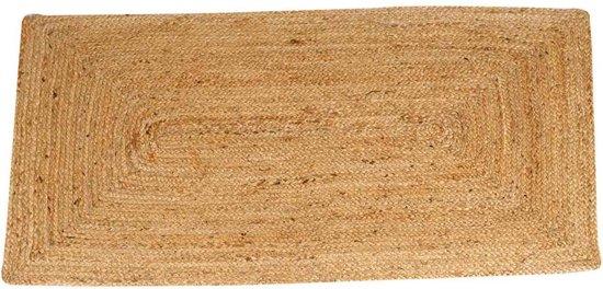 Jute vloerkleed Esha   Tapijtloper in boho-stijl van 100% natuurlijke vezel jute & katoen, handgevlochten