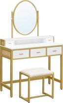 Segenn's Hollywood kaptafel -  Make up tafel met kruk  -  Met spiegel en open vak - Wit Goudkleurig