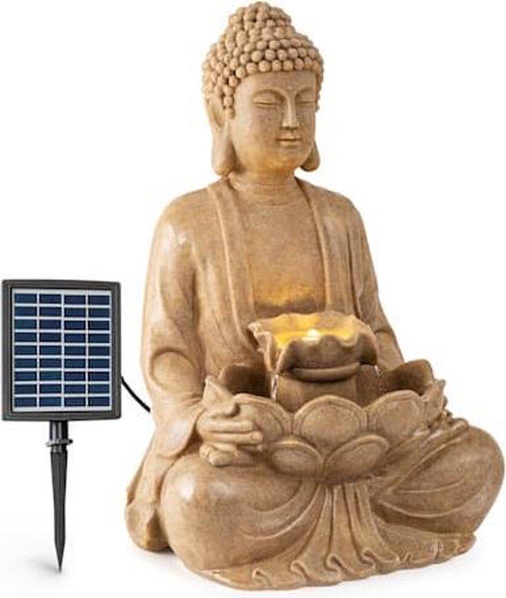 blumfeldt Dharma zonne-energie fontein - voor binnen en buiten - LED-verlichting - 48 x 72 x 41 cm (BxHxD) - Weerbestendig - Polyresin
