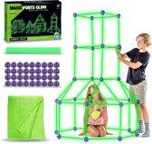 JUST23® Glow hut - Speelgoed Bouwpakket Kinderen – Glow in The Dark Constructie – Bouwspeelgoed – Bouwset – Jongens en Meisjes – Buitenspeelgoed Fantasy fort - Hut bouwen