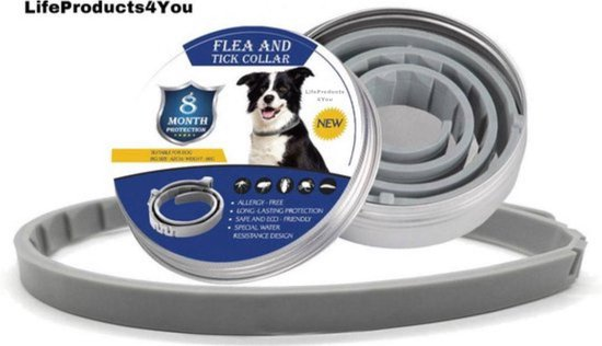 Teken en Vlooienband Kat en Hond - Kat - Hond - Vlooienband Kat - Vlooienband Hond - Vlooien - Diervriendelijk - Natuurlijk Product - 8 Maanden Bescherming - Grijs - Fit All Sizes - 63,5cm
