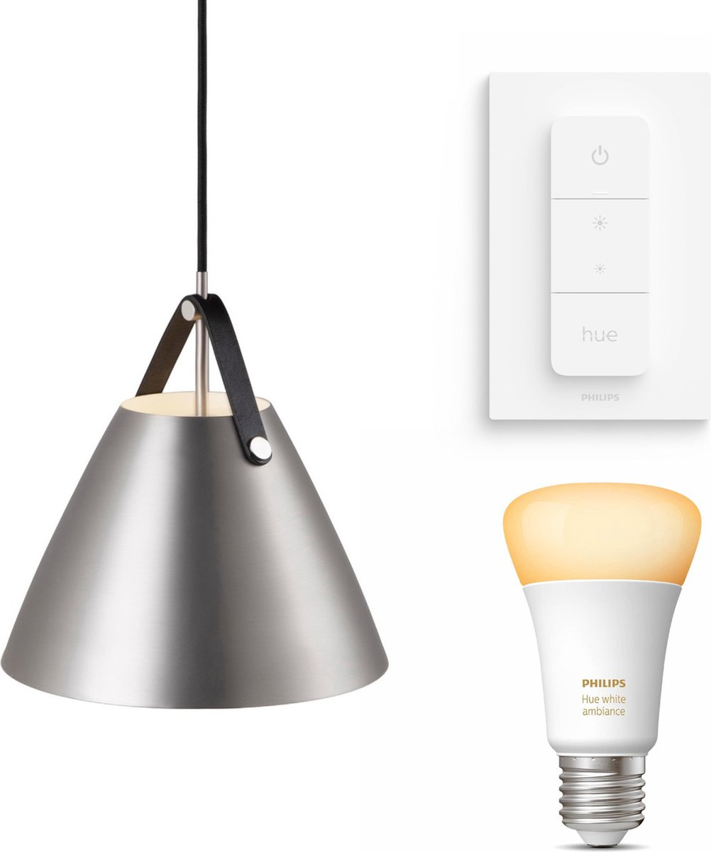 Nordlux Strap 27 hanglamp - LED - mat chroom - 1 lichtpunt - Incl. Philips Hue White Ambiance E27 & dimmer