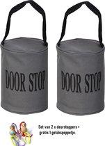 2 x deurstoppers grijs met zwarte band gevuld met zand