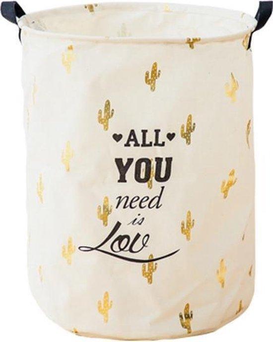 Wasmand Wit & Goud  - Alle You Need is Love - Opbergmand kinderkamer met handvatten