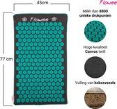 Flowee Spijkermat ECO – Grijs met Zeegroen - 77cm x 45cm – Kokosvulling - Luxe afwerking - Acupressuur mat – Acupressure mat