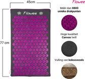 Flowee Spijkermat ECO – Grijs met Paars - 77cm x 45cm – Kokosvulling - Luxe afwerking - Acupressuur mat – Acupressure mat