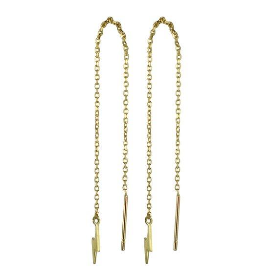 Silventi 9NBSAM-G210038 Gouden Oorhangers - Dames - Bliksem - 9 x 5,5 mm - Doortrek Oorbellen - 83 mm Lang - 14 Karaat - Goud