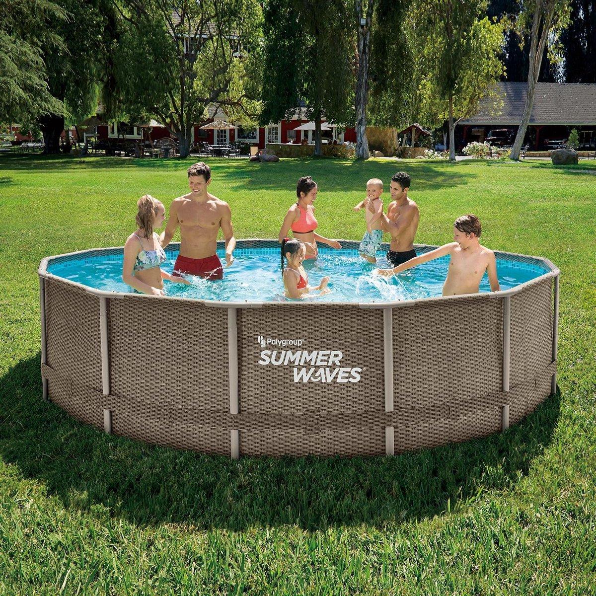 Summer Waves Zwembad Elite Frame 427 X 107 CM - Rotan Look - Complete set