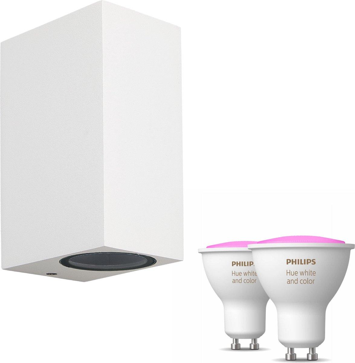 Mantra Kandachu wandlamp rechthoekig - wit - 2 lichtpunten - Incl. Philips Hue White & Color Ambiance Gu10 (geschikt voor buitengebruik)