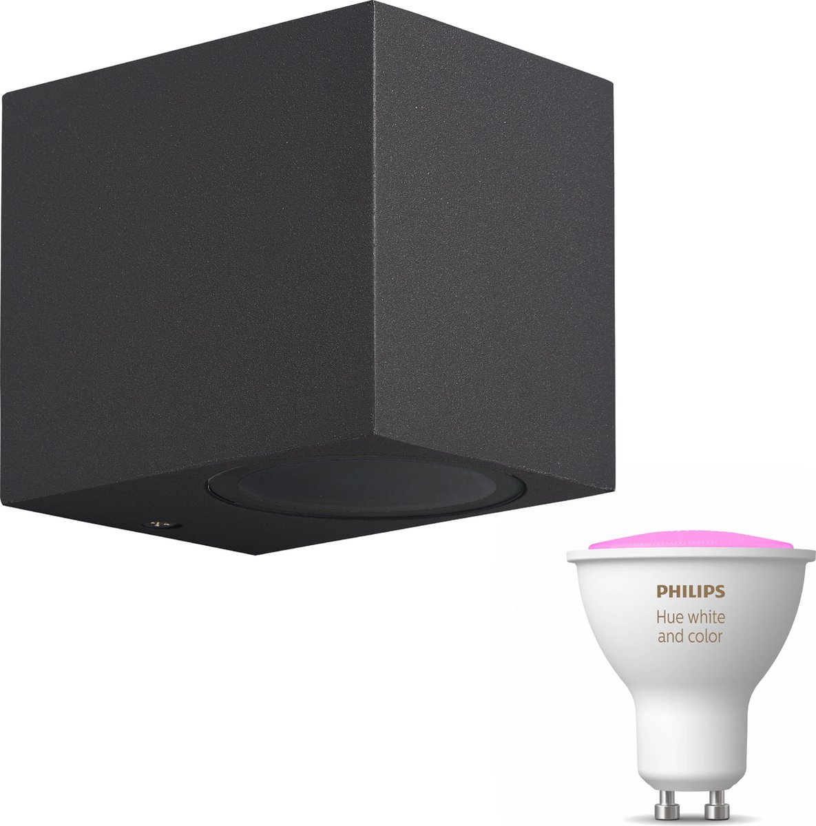 Mantra Kandachu wandlamp vierkant - antraciet - 1 lichtpunt - Incl. Philips Hue White & Color Ambiance Gu10 (geschikt voor buitengebruik)