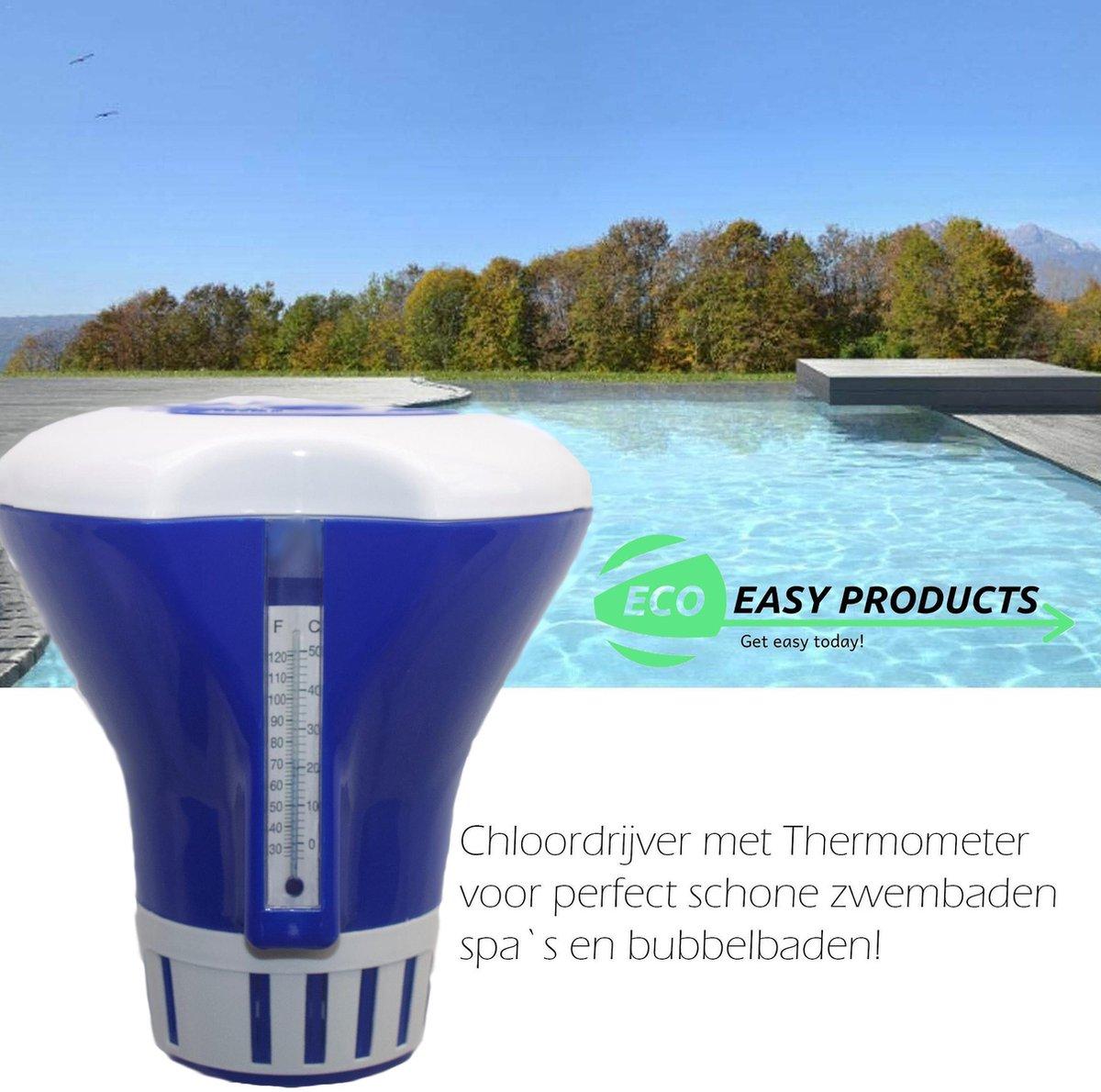Chloordrijver XXL met thermometer - Chloordrijver - Dispenser - Reiniging - Jacuzzi - Zwembad Schoonmaak Accessoire - Regelbare chloordispenser - Zomer - opblaas zwembad - Chloordrijver en Thermometer