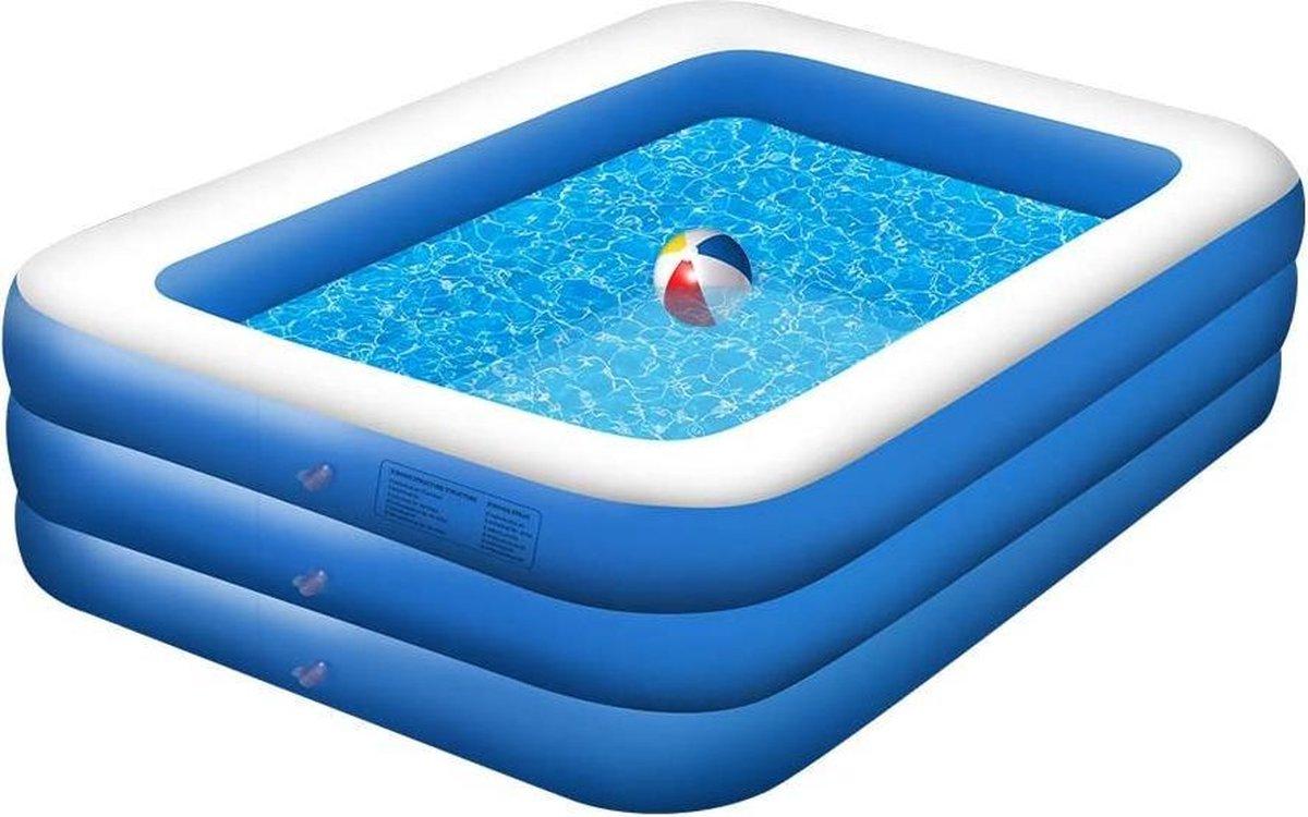|opblaas bad| zwembad| Zwemcentrum, opblaasbaar zwembad, rechthoekig zwembad voor kinderen en volwassenen, 3 lagen, 210 x 150 x 55 cm, dik zwembad voor achtertuin, zomerwaterfeest, buiten, tuin