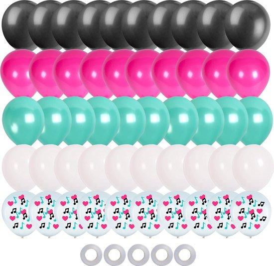 Partizzle®️ 50x Tik Tok Gekleurde Confetti & Helium Ballonnen - Verjaardag Versiering - Kinderfeestje Ballonnenboog Maken - Latex