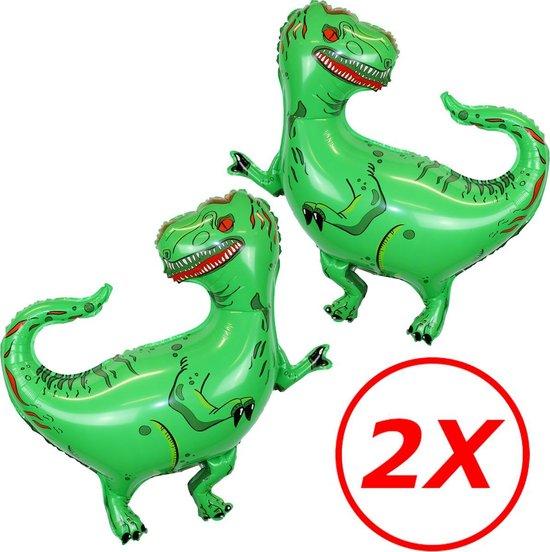Dino Ballon Verjaardag Versiering Dinosaurus Decoratie Feest Versiering Helium ballonnen - XL 80 Cm Met Rietje – 2 Stuks