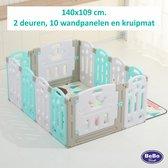 Grondbox, kruipbox, speelbox, playpen, baby, peuter en kind blauw/wit 10+2