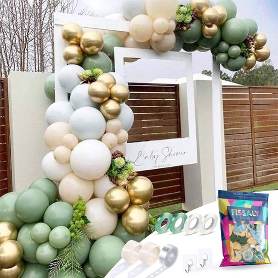 Fissaly® Ballonnenboog Groen, Goud & Wit – Ballonboog Feest Decoratie Versiering – Verjaardag Decoratie - Helium, Latex, Folie & Papieren Confetti Ballonnen Boog – Feest & Feestversiering