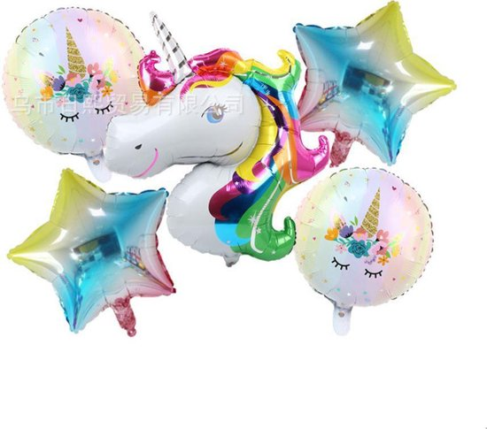 Folie ballon Set eenhoorn, unicorn, Blauwe Regenboog, 5 stuks, Verjaardag, Happy Birthday, Feest, Party, Wedding, Decoratie, Versiering, Miracle Shop