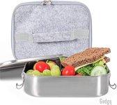 Gadgy Lunchbox RVS met Koeltas – 1400 ml. - Broodtrommel - Brooddoos met losse voedselverdeler