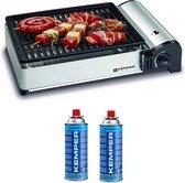 Kemper draagbare smart gas barbecue Tafelbarbecue Campingkooktoestel - incl. 2 gasflessen