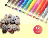 Afbeelding van Acryl stiften 0,7mm tip - Stiften -  Markers - Verfstiften - Acrylverf - Acrylstiften - Krijtstiften - Happy Stones - Stenen schilderen - Tekenset - 12 Kleuren