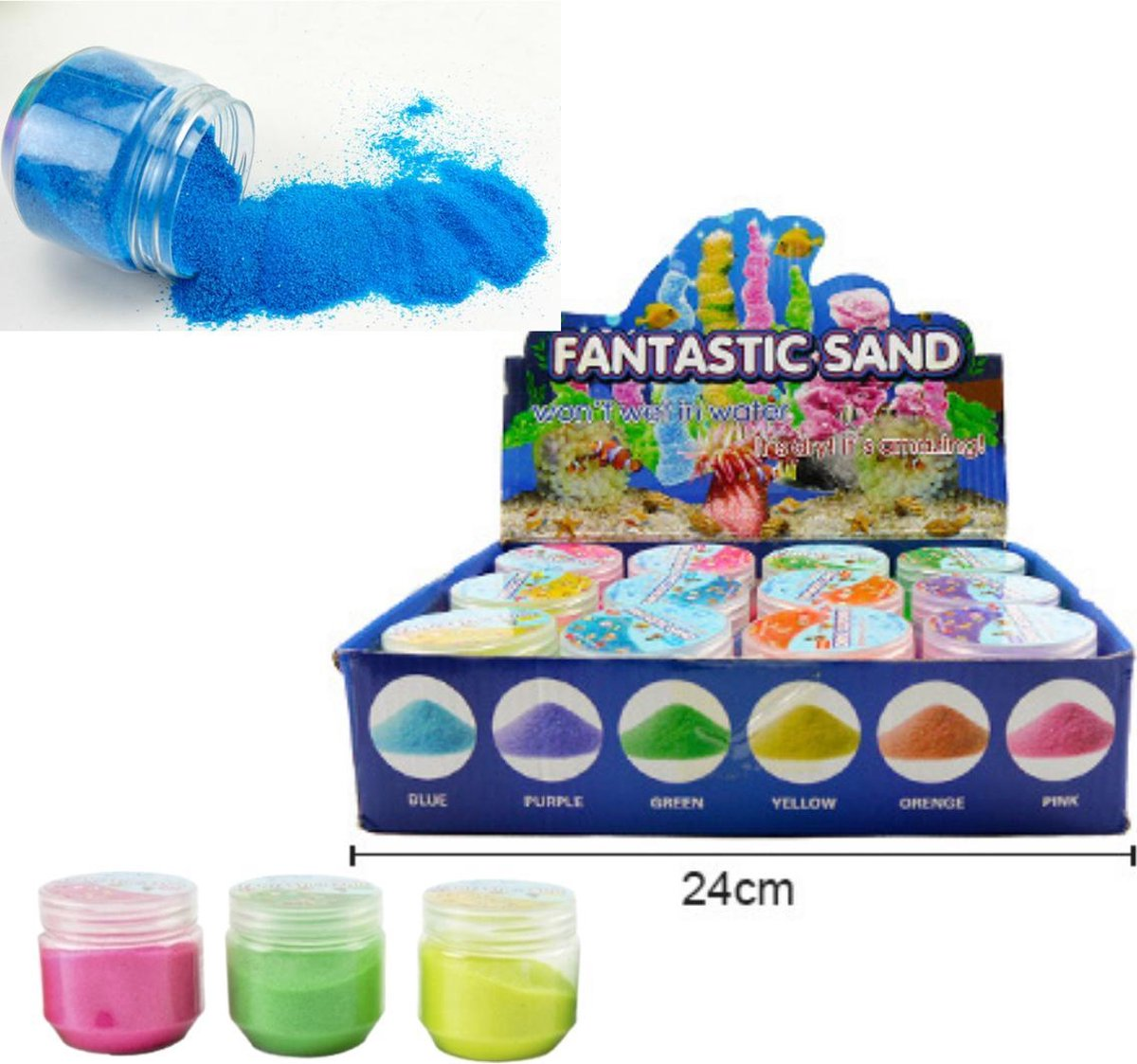 Speelzand - Magisch Zand - Magic Sand - Kinetic Sand - Zand Dat Niet Nat wordt - In 3 Kleuren - Geel - Roze - Groen - 107 Gram - Speelgoed Zand Creatief - Fantastic Sand - Speelgoed Voor Kinderen