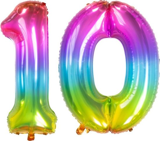 Cijfer 10 Yummy Gummy Rainbow – 86 cm