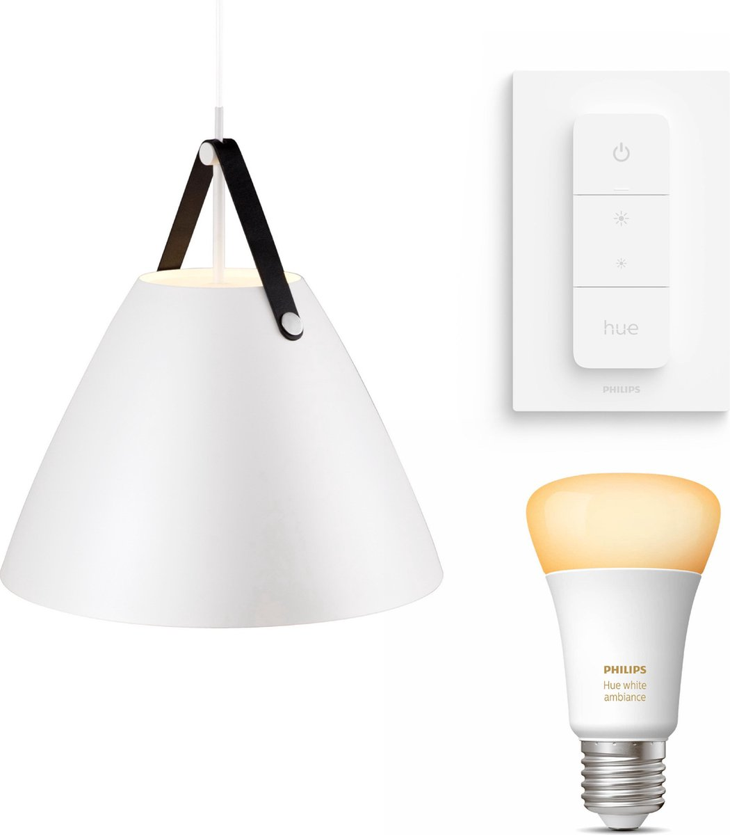Nordlux Strap 48 hanglamp - LED - wit - 1 lichtpunt - Incl. Philips Hue White Ambiance E27 & dimmer