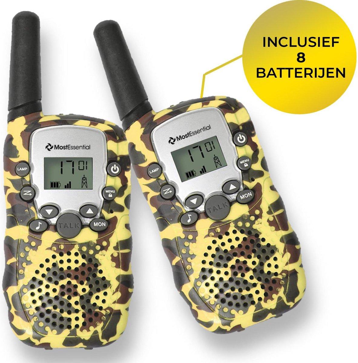 MostEssential Premium Walkie Talkie voor Kinderen - Walkie Talkie - Portofoon - Inclusief 8 Batterijen - Geel