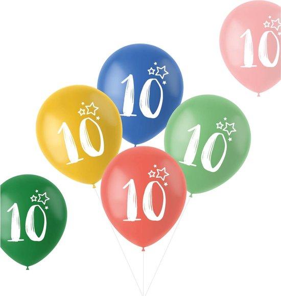 Ballonnen Retro 10 Jaar Meerkleurig 33 cm - 6 stuks