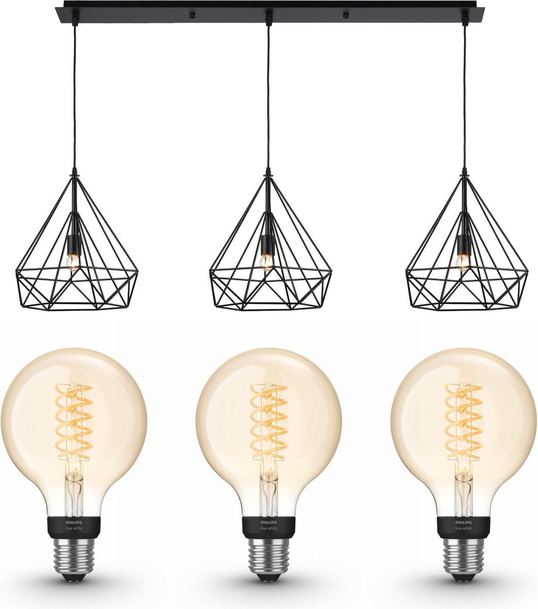 Jotaeme Arty hanglamp - LED - zwart - 3 lichtpunten - incl. Philips Hue White Filament Globe klein E27