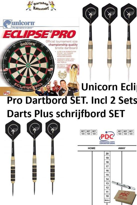 Unicorn Eclipse Pro Dartbord SET incl 2 Sets Darts + Schrijfbord SET