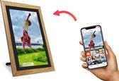 Kiki&Co Zwart/Hout digitale fotolijst - fotokader - 10.1 inch - Frameo app - HD touchscreen - WiFi