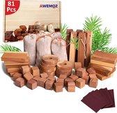 AWEMOZ® Mottenballen - Set van 81 Stuks - Cederhout tegen motten - Motten Bestrijden - Mottenval