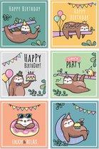 Verjaardagskaarten - met envelop - gevouwen kaarten - vrolijk - 12 stuks