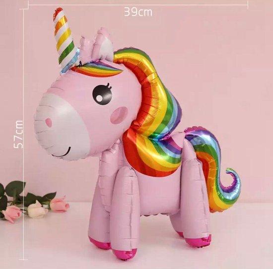 Unicorn Ballon - 3D Ballon Inclusief Opblaasrietje - Ballonnen - Ballonnen Verjaardag - Helium Ballonnen - Folieballon - Paarden - Pony - Eenhoorn - Unicorn Versiering - Unicorn