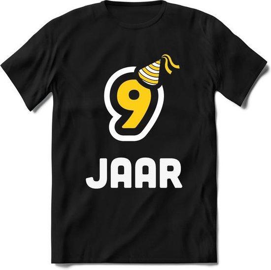 9 Jaar  - Feest cadeau kinder T-Shirt Jongens / Meisjes - Wit / Geel - Perfect Verjaardag Cadeau Shirt - grappige Spreuken, Zinnen en Teksten.