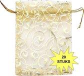 Fako Bijoux® - Organza Zakjes - 9x12cm - Krul Goud - 20 Stuks