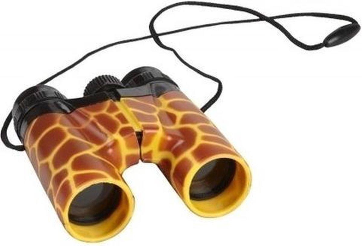 Kinder speelgoed verrekijker giraffe print 11cm - Natuur onderzoekers Explorer artikelen
