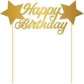 Taart topper Happy Birthday goud