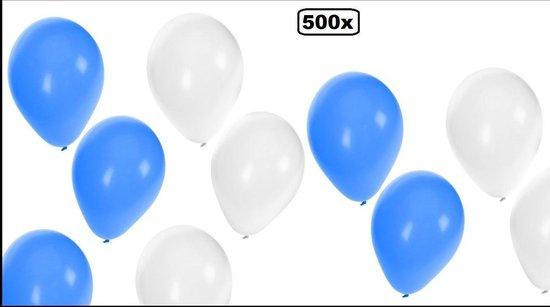 500x Ballonnen blauw/wit - Ballon carnaval festival feest party verjaardag landen Oktoberfest apres ski helium lucht thema